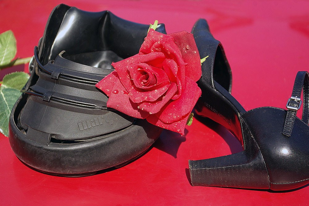 Marquis Hoofboot with woman's dance shoe and rose